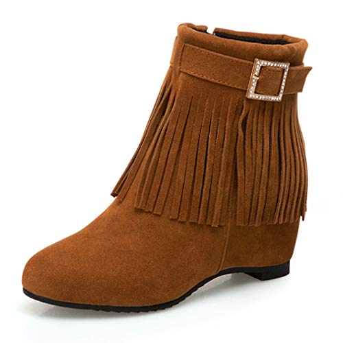 GIY Womens Suede Fringe Buckle Mid Wedge Ankle Boots Round Toe Zipper Hidden Heel Boot Tassel Short Bootie