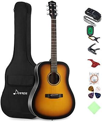 Donner Sunburst - Paquete de guitarra acústica DAG-1S para ...