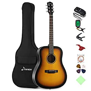 donner sunburst acoustic guitar package dag 1s beginner guitar dreadnought with bag. Black Bedroom Furniture Sets. Home Design Ideas