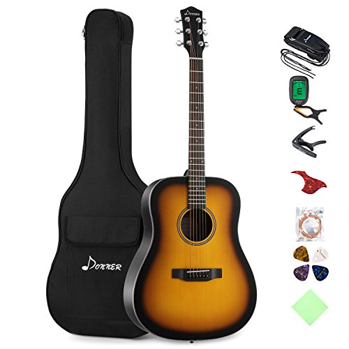 Donner Sunburst Acoustic Guitar Package DAG-1S Beginner Guitar Dreadnought With Bag Tuner Strap String Picks