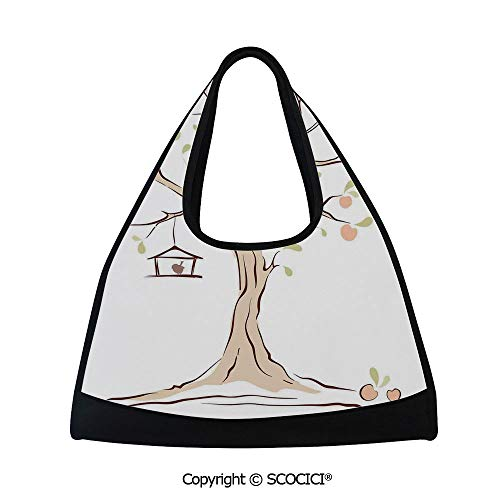 Fitness bag,Illustration of Mature Tree with Fying Birds and the Nest Fruit Family Decorative,Easy to Carry(18.5x6.7x20 in) Multi (Birds Nest Bean Bag)