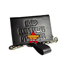 BMF Leather Trifold Biker Wallet with Chain New Tough Black Leather Version