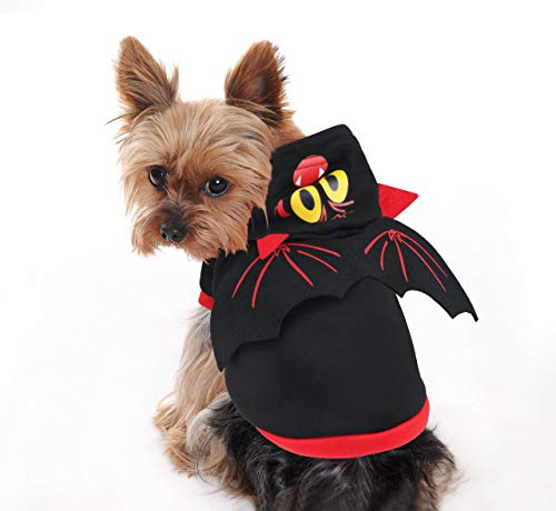 Idepet Helloween Bat Pet Costumes with Wings, Puppy Dog Hoodie Apparel Outfits Clothes for Small Dogs or Cats (M)