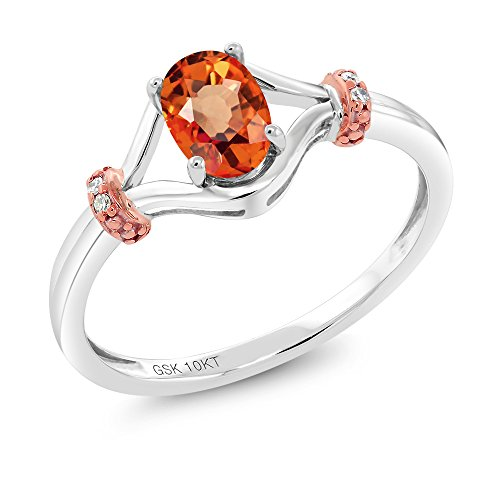 Gem Stone King 10K 2 Tone Gold 0.58 Ct Oval Orange Sapphire and Diamond Engagement Ring (Size 7)