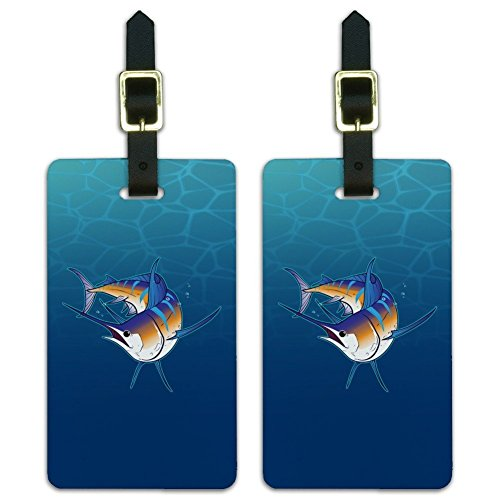 - Blue Marlin Swimming in Ocean Luggage ID Tags Suitcase Carry-On Cards - Set of 2