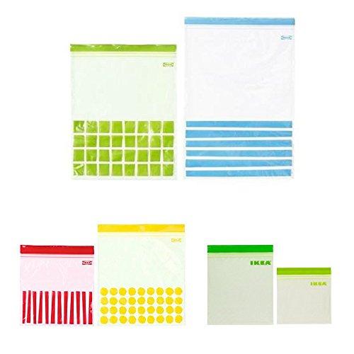 IKEA(イケア) 【セット品】 ISTAD プラスチック袋 6サイズ 3箱セット (ブルー・グリーン30p レッド・イエロー50p グリーン60p) 【チャック ジッパー付】