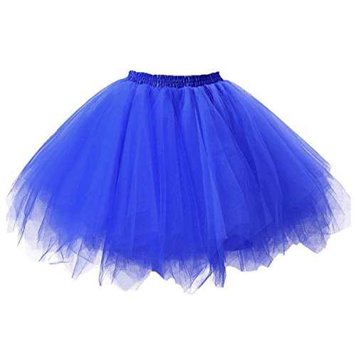 Topdress Women's 1950s Vintage Tutu Petticoat Ballet Bubble Skirt (26 Colors) Royal Blue M