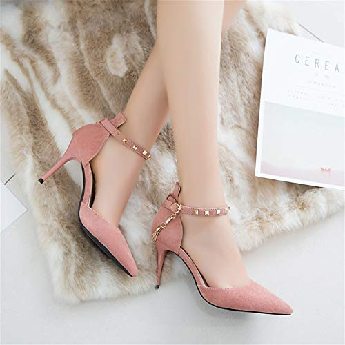 ZHZNVX Strap Heel amp; Evening Ankle Women's Spring Beige Toe Synthetics Summer Pointed Black Shoes Heels amp; Black Party Pink Stiletto fnfRqSrg
