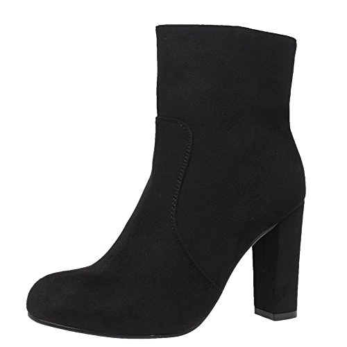 SAUTE STYLES Ladies Womens Pull High Block Heels Casual Buckle Chelsea Ankle Boots Shoes Size 3-8 Black Suede