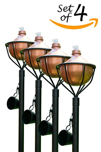 Dusq All-In-One Citronella Garden Torch Modern Copper Finish (Set of 4) by Dusq