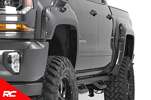 Rough Country Pocket Fender Flares Flat Black Compatible w/ 2016-2018 Chevy Silverado 1500 5.8 FT Bed F-C11612