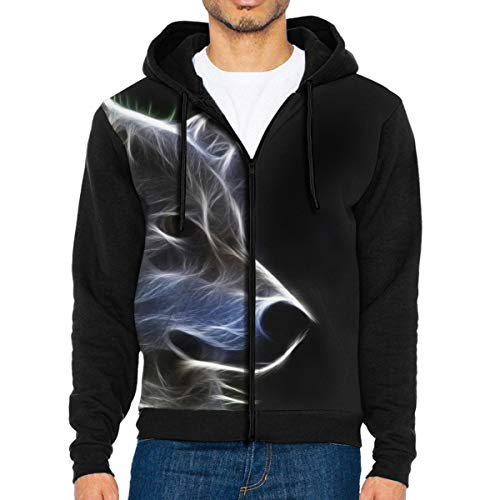Ordgjas Men's Lightweight T-Shirt Jersey Full Zip Up Hoodie Hooded Sweatshirt Black White Canine Nature Wild Beautiful Abstract
