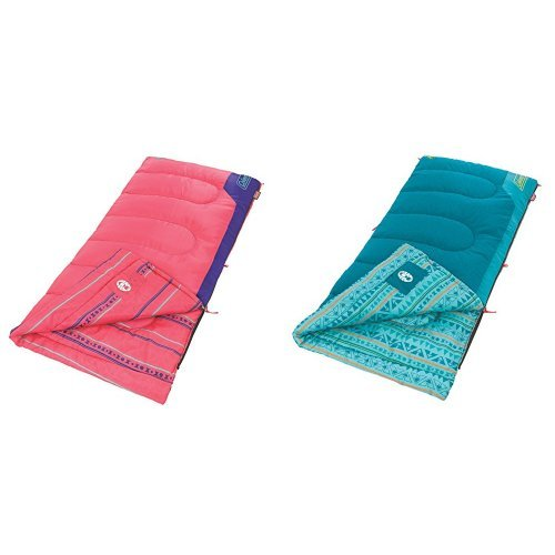 Coleman Kid's 50 Sleeping Bag Pink and Coleman Kids 50 Degree Sleeping Bag, Teal Bundle