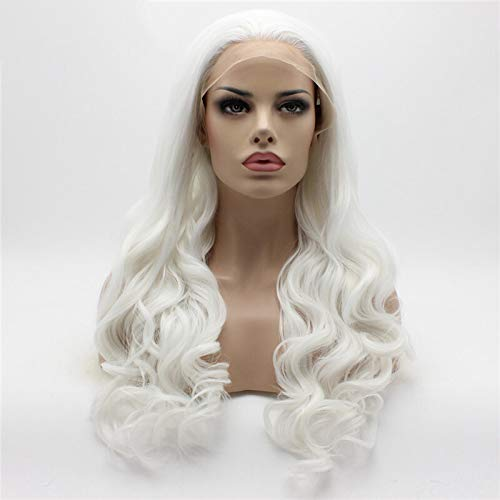 26In Long Body Wavy Glueless White Hair Color Free Part Synthetic Lace Front Wig Cosplay Party White 26inches ()