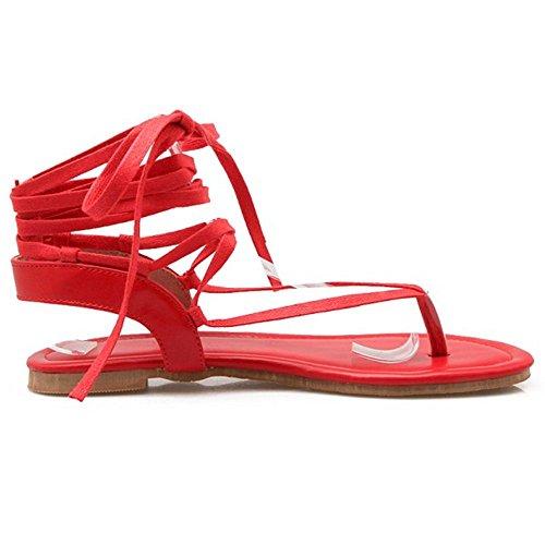 Flop Flip Toe Rojo Clip Chicas Sandalias FANIMILA Mujer for Moda fawBxnHqP