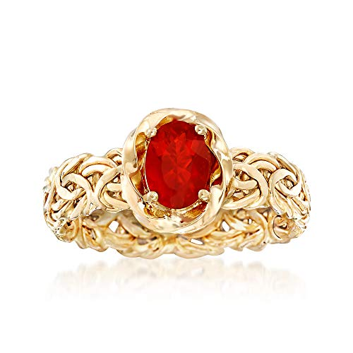 (Ross-Simons Fire Opal Byzantine Ring in 14kt Yellow Gold)