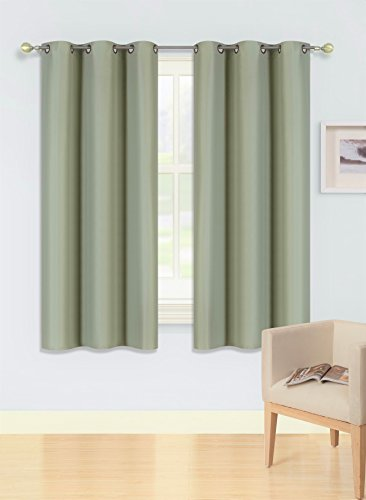 GorgeousHomeLinen (KK92) 2 Panel Bronze Grommet Top Window Curtain Thermal 3 Layered 99% Foam Lined Blackout Treatment Drape Solid Colors From Short to X-Long Length (63