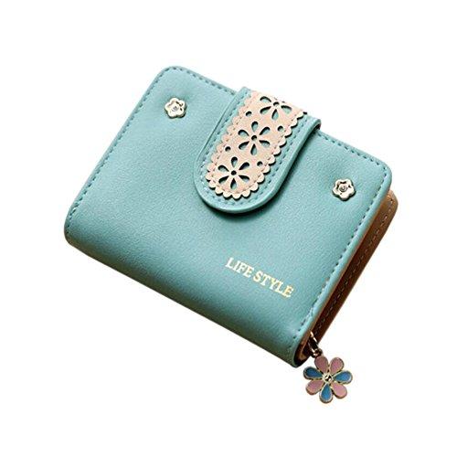 Diyafas Damen Portemonnaie Frauen Geldbörse PU Leder Brieftasche Kartenhalter Kleine Clutch mit Blume Anhänger Reißverschluss Blau