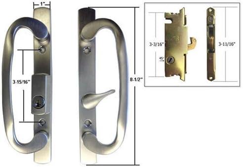 STB Patio puerta corredera de cristal pomo para puerta con cerradura para, cromo cepillado, llave, 3 – 15/16
