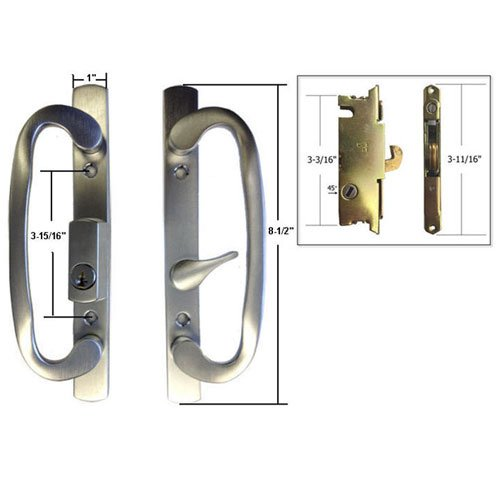 STB Sliding Glass Patio Door Handle Set with Mortise Lock, Brushed Chrome, Keyed, 3-15/16