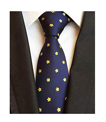Men Boy Navy Blue Yellow Floral Silk Handmade Ties Jacquard Woven Dating Necktie ()
