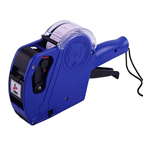 One Line Labeler (Mx5500 EOS 8 Digits Price Tag Gun Labeler Labeller Included Labels & Ink Refill Blue, Yellow, Red (Blue))