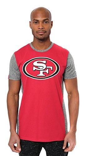 ICER Brands Adult Men T Raglan Block Short Sleeve Tee Shirt, Team Color, Red, Large