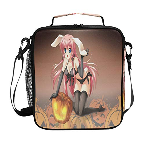 Stylish Anime Halloween Wallpaper Lunch Bag Womens Insulated Lunch Tote Containers Zipper Square Lunch Box for Kids Men Adults Boys Girls ()