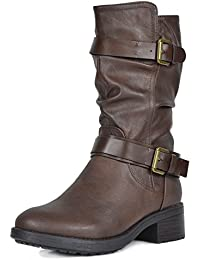 Womens Faux Fur Mid Calf Riding Winter Boots