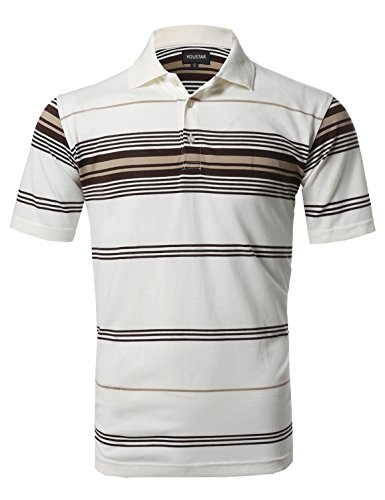Basic Everyday Stripe Polo T-Shirt Offwhite S