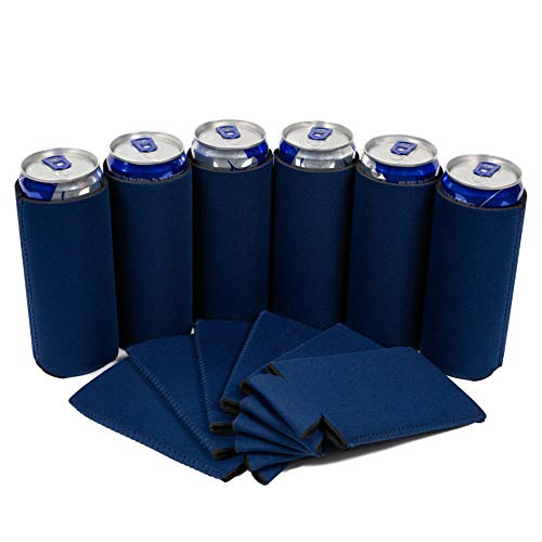 QualityPerfection 12 Slim Can Cooler Sleeve - Beer/Energy Drink Blank Skinny 12 oz Neoprene Coolie - Perfect For Red Bull,Michelob Ultra,Truly,White Claw - Great Gift (12, Navy Blue) from QualityPerfection