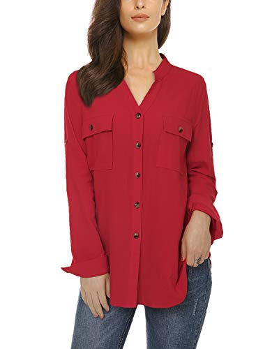 Womens Casual Button Down Shirts Roll up Long Sleeve Loose Linen Blouse Tops with Front Pockets