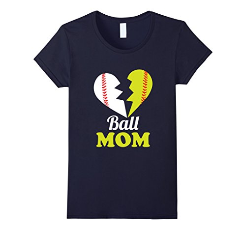 Womens Ball Mom T-shirt Softball Baseball Cool T shirt XL Navy (Softball Mom T-shirt)