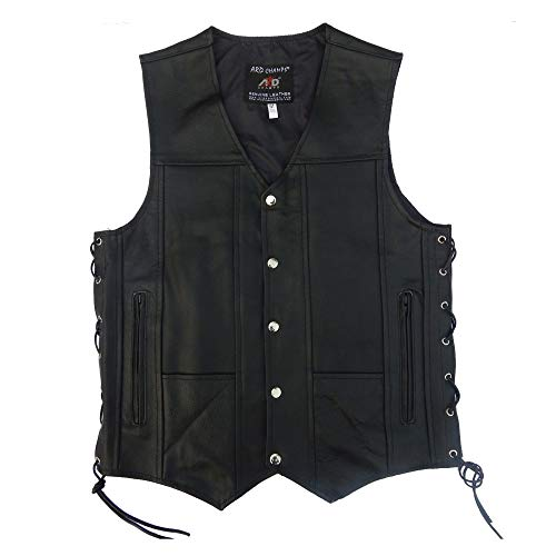 ARD CHAMPS Men's Leather 10 Pockets Motorcycle Biker Vest New All Sizes (XL) - Solid Leather Vest