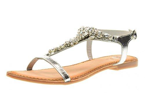 GIOSEPPO zapatos de mujer sandalias planas 40714-47 PASTEAD Plata