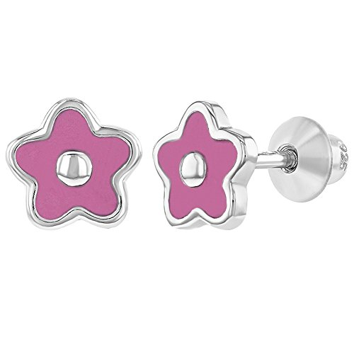 925 Sterling Silver Pink Enamel Flower Earrings Screw Back Baby Girls -
