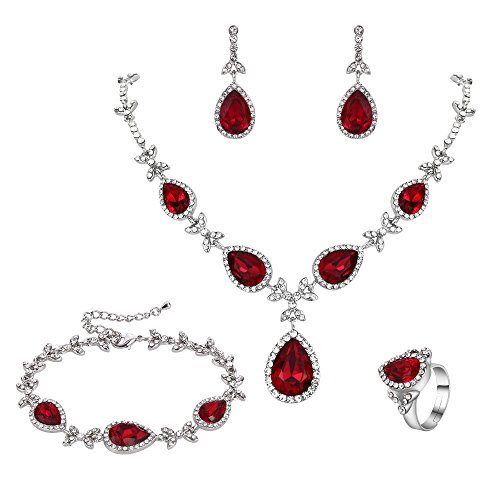 BriLove Wedding Bridal Necklace Earrings Bracelet Ring Jewelry Set for Women Crystal Floral Leaf Teardrop Y-Necklace Tennis Bracelet Dangle Earrings Resizable Ring Set Ruby Color Silver-Tone