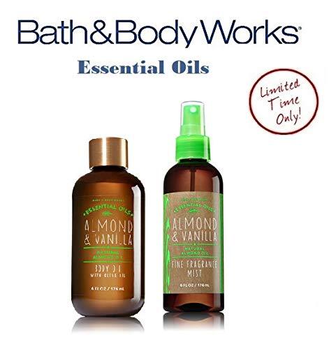 Bath and Body Works ALMOND & VANILLA Olive Oil Gift Set - Body Oil & Fine Fragrance Mist Full Size