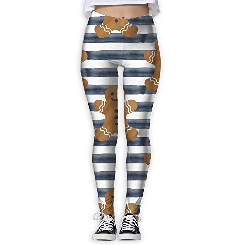 Yoga Pants, Women's Power Flex Gingerbread Man Tummy Control Workout Running ()