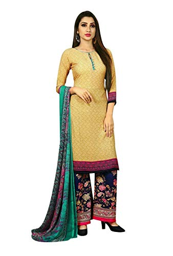 Ready to Wear Faux Crepe Printed Salwar Kameez Suit with Palazzo Pants (Size_46/ Beige)