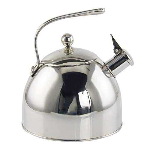 Riwendell Stainless Steel Whistling Tea Kettle 2.6 Quart Mirror Finish Stove Top Teapot GS-04302-2.5L