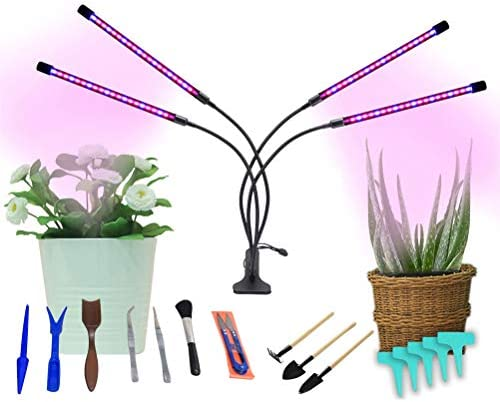 4-Head Grow Lights for Indoor Plants with Timer, 80 LED Full Spectrum Plant Lights Strips Timing Function 3 9 12H, 9 Dimmable Brightness Clip-On Desk Plant Growing Lamps for Succulent Plants Growth