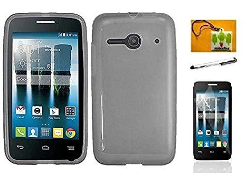 LF 4 in 1 Bundle - TPU Flexible Soft Gel Case Cover, Stylus Pen, Screen Protector & Wiper for (T-Mobil) Alcatel Pixi Pulsar A460G / Alcatel One Touch Evolve 2/4037 ()