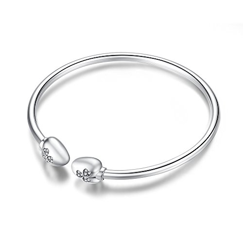 Glamulet Jewelry - 17 cm Heart Clover Bangle Bracelet -- 925 Sterling Silver -- Fits Pandora Charm by Glamulet (Image #4)