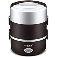 Multifunction 2L 3 Layers Portable Modern Stainless Steel Mini Rice Cooker Electric Steamer Lunch Box Food Heating Cooker Kitchen Tools For Office And Camping