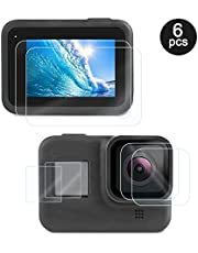 DGABY 6 Pack Tempered Glass Screen Protector Sport Camera Film Clean for Gopro Hero 8 Black