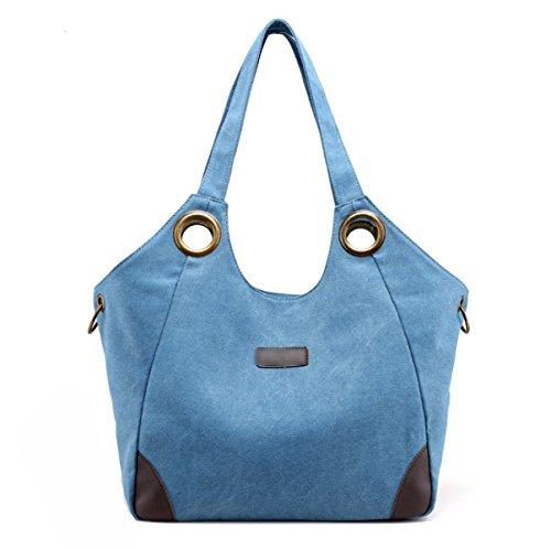 Mujer El Nuevo Lienzo Europa Moda Simple Transpirable Bolsas De Hombro Bolsos De Gran Capacidad Bolsa Blue