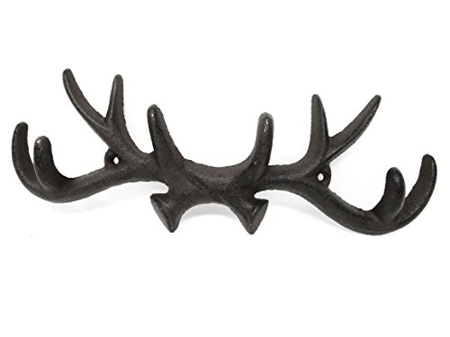(Deer Antler Cast Iron Wall Hooks & Scottish Terrier Dog Door Stopper - w/Screws & Anchors, Shabby Chic Vintage Wall Mounted, Holds Coats, Bags, Hats, Towels, Scarf's- by Ashes to Beauty)