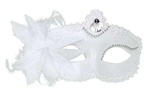 [Simplicity Sheer Lace and Floral Mardi Gras Masquerade Costume Mask,White-White] (Disney Junior Pj Masks Costumes)