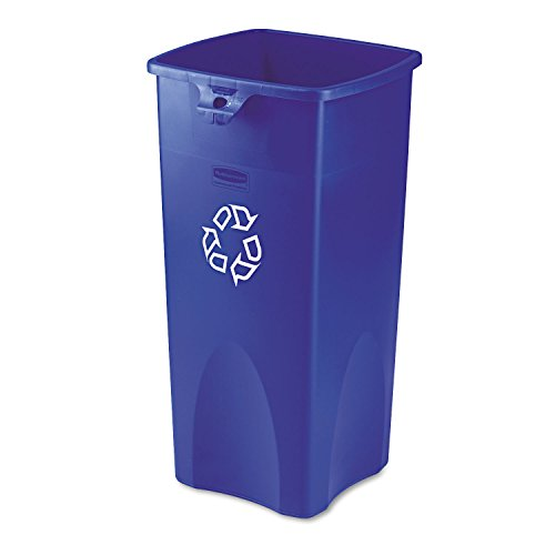 Rubbermaid 356973BE Untouchable Recycling Container, Square, Plastic, 23gal, Blue